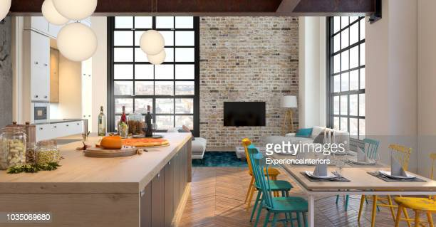 modern apartment hipster interior - kitchen background stock pictures, royalty-free photos & images
