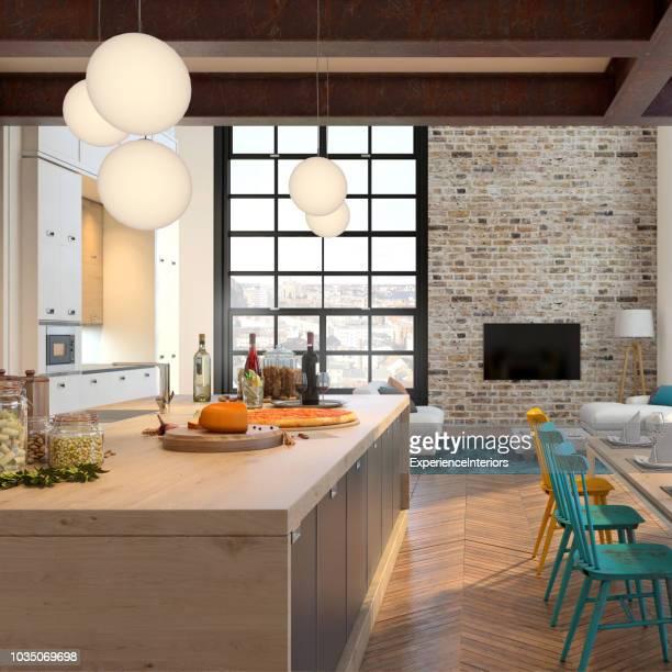 modern appartement hipster interieur - oorhanger stockfoto's en -beelden