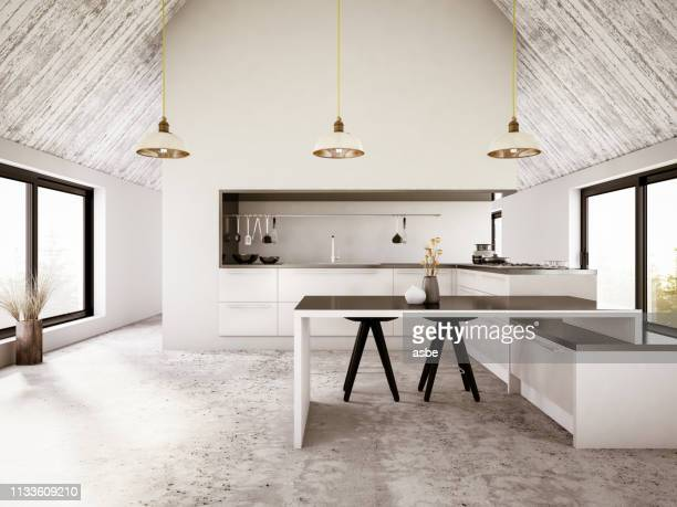 modern apartment iinterior with kitchen - dining room stock pictures, royalty-free photos & images