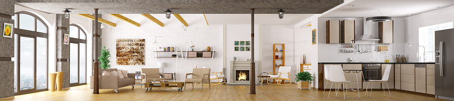 Modern apartment interior panorama 3d render 514388998
