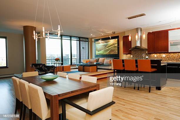 Modern Apartment, Model Home Dining Area, Living Room, Kitchen Interior