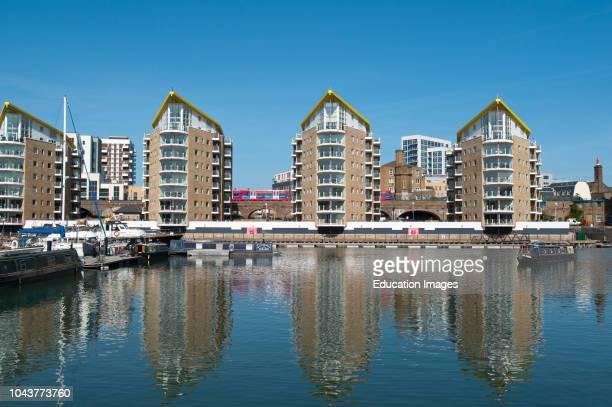 Modern apartments on Limehouse Basin, Tower Hamlets, London, England.