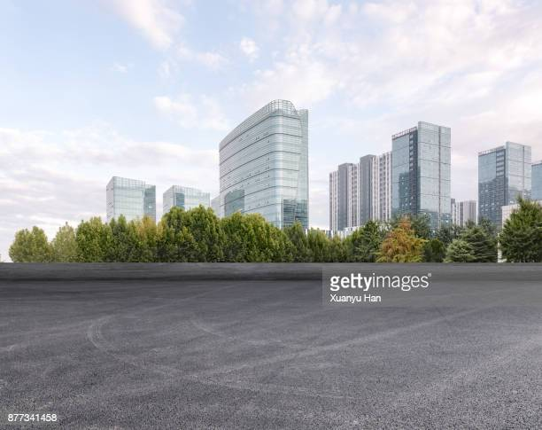 Modern architecture and empty asphalt road,Auto advertising background