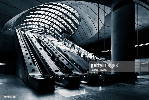 Modern architecture at Canary wharf tube station London