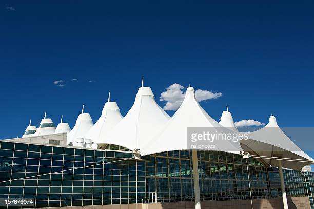 modern architecture at denver airport - denver international airport stock pictures, royalty-free photos & images