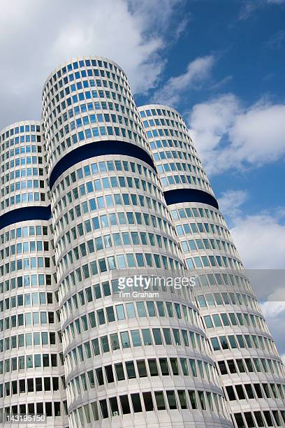 Modern architecture at the BMW Headquarters office blocks in Munich Bavaria Germany