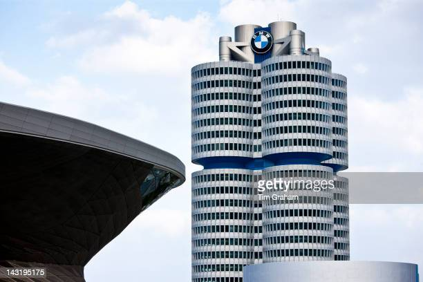 Modern architecture at the BMW Headquarters office blocks showroom museum and customer collection centre in Munich Bavaria Germany