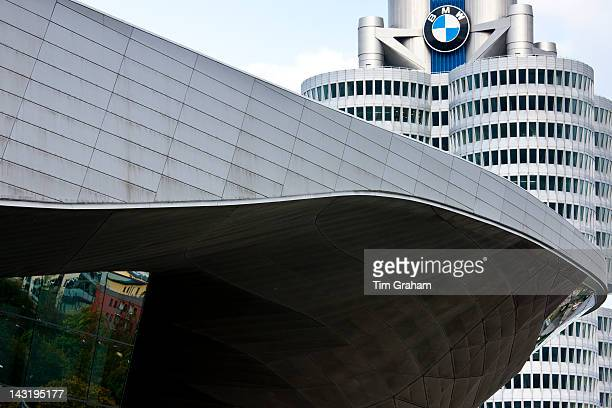 Modern architecture at the BMW Headquarters office blocks showroom and customer collection centre in Munich Bavaria Germany