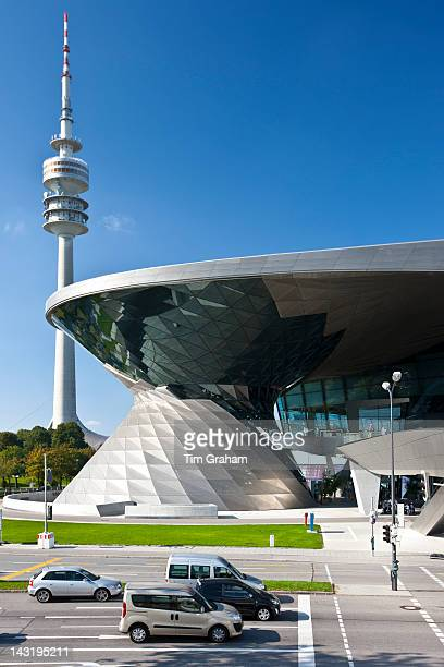 Modern architecture at the BMW Showroom Customer Collection Factory and Headquarters in Munich Bavaria Germany