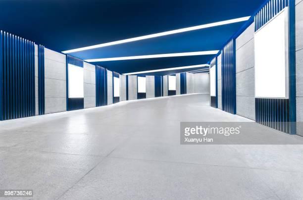 Modern architecture, blue corridor