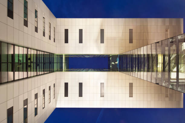 Modern Architecture From Below At Night