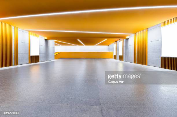 Modern architecture, gold colored corridor
