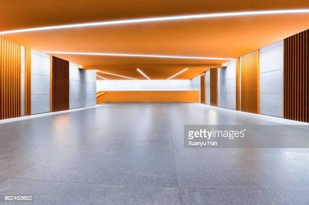 Modern architecture, gold colored corridor