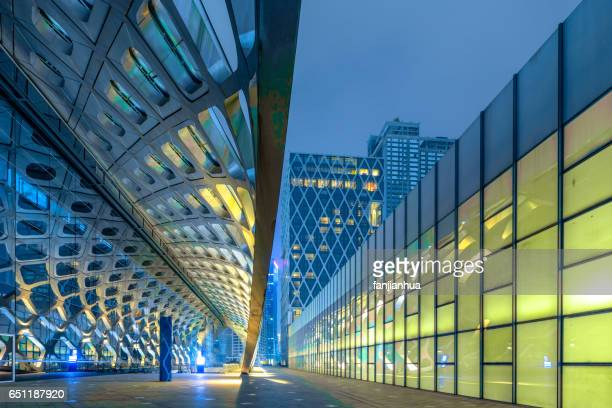 modern architecture in empty city square - modern architecture stock photos and pictures