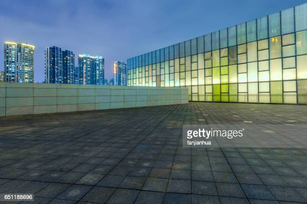 modern architecture in empty city square