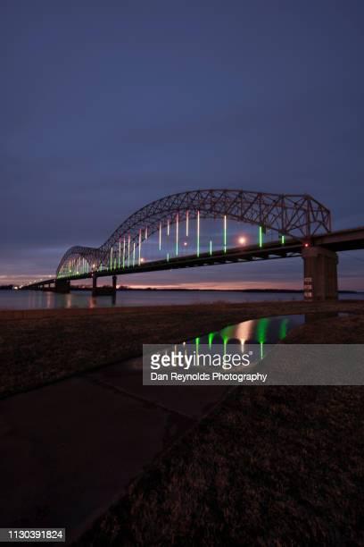 modern architecture memphis twlight - memphis bridge stock photos and pictures