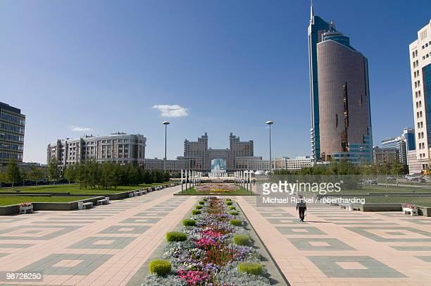 Modern architecture near the Bayterek Tower, Astana, Kazakhstan, Central Asia