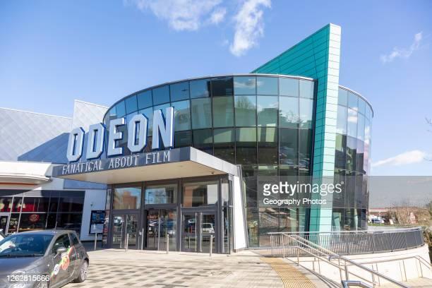 Modern architecture of Odeon cinema building in Trowbridge, Wiltshire, England, UK.
