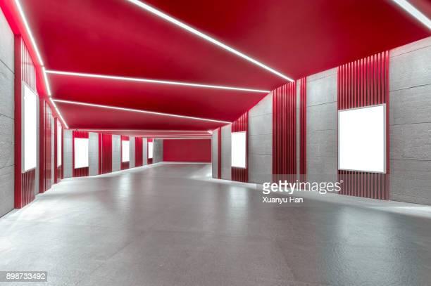 modern architecture, red corridor - beeldmanipulatie stockfoto's en -beelden