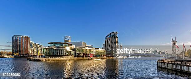 modern architecture salford quays manchester - manchester england stock photos and pictures