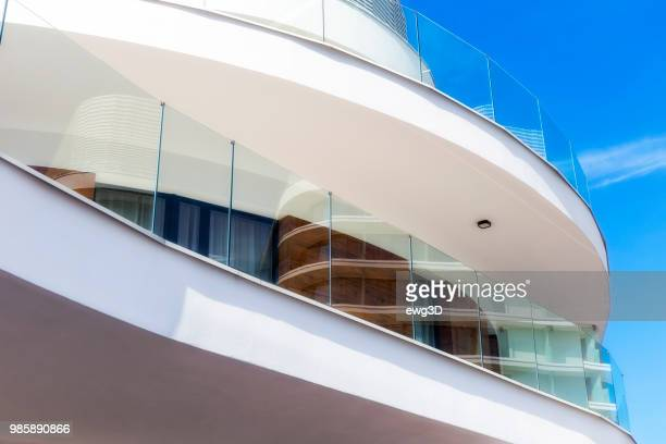 modern architecture with large white balconies in modern white apartment building - gdansk stock pictures, royalty-free photos & images