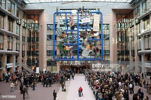 Modern art installation called 'Entropa' that is display in the lobby of the European Council