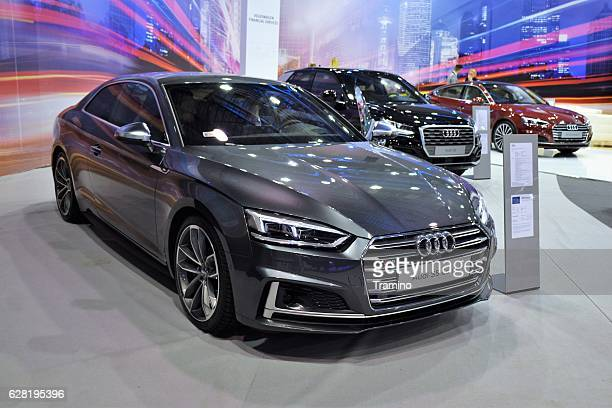 Modern Audi vehicles in the showroom