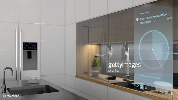 modern automated kitchen - clocks go forward stock pictures, royalty-free photos & images