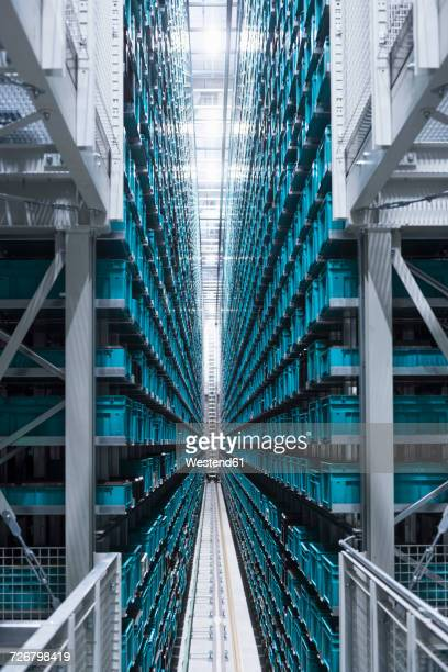 modern automatized high rack warehouse - vertical stock pictures, royalty-free photos & images