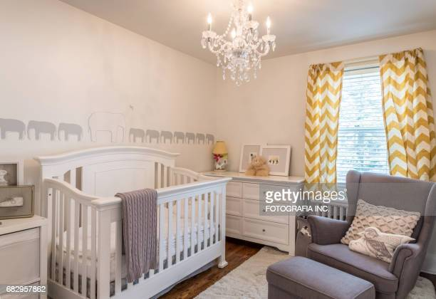 modern baby bedroom interior - empty crib stock photos and pictures