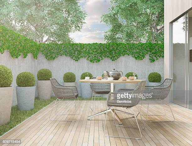 modern backyard - patio stock pictures, royalty-free photos & images