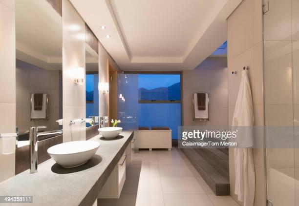 Modern bathroom at night