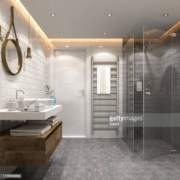 modern bathroom interior - bathroom stock photos and pictures