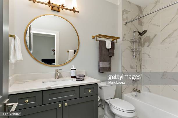 modern bathroom interior - bathroom stock pictures, royalty-free photos & images