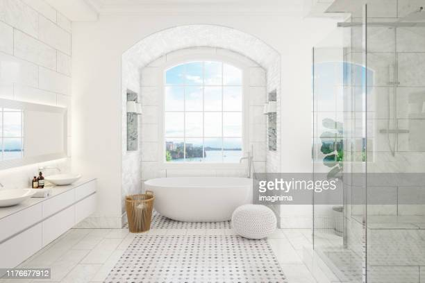 modern bathroom interior - bathtub stock pictures, royalty-free photos & images