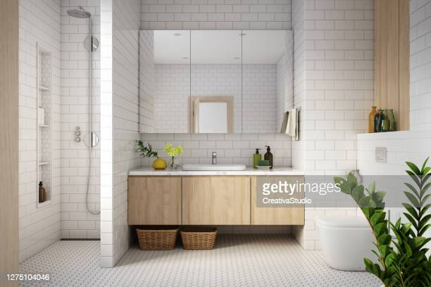 modern bathroom interior stock photo - domestic bathroom stock pictures, royalty-free photos & images