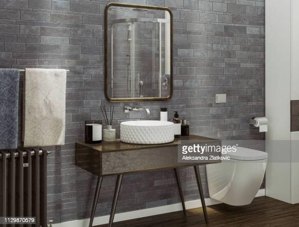 moderne badkamer - badkamer stockfoto's en -beelden