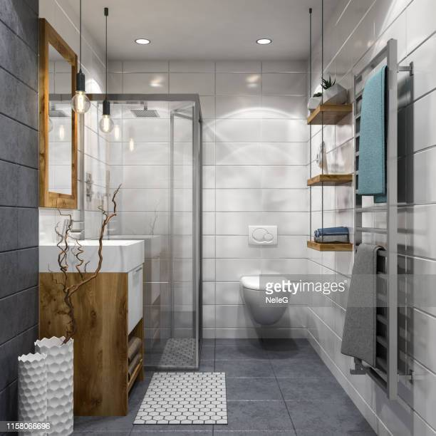 modern bathroom - domestic bathroom stock pictures, royalty-free photos & images