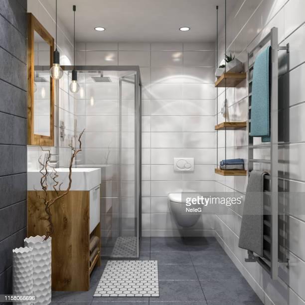 moderne badkamer - betegelde vloer stockfoto's en -beelden