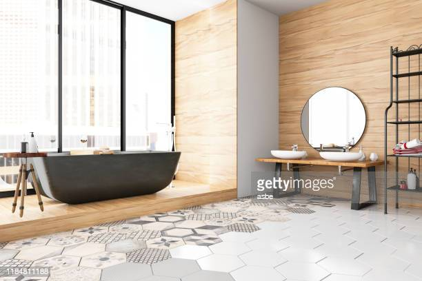 modern bathroom - tiled floor stock pictures, royalty-free photos & images
