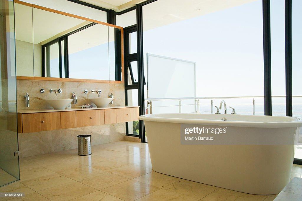 Modern bathroom shower vanity and bathtub : Stock Photo