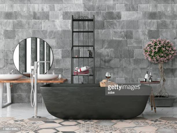 modernt badrum med betongvägg - sten konstruktionsmaterial bildbanksfoton och bilder