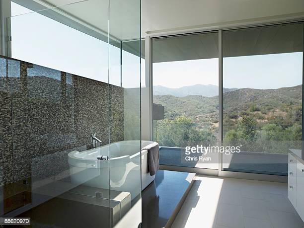 Salle de bains moderne avec baignoire