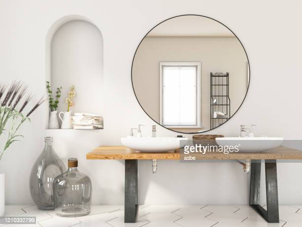 modern bathroom with two sinks and mirror - domestic bathroom stock pictures, royalty-free photos & images