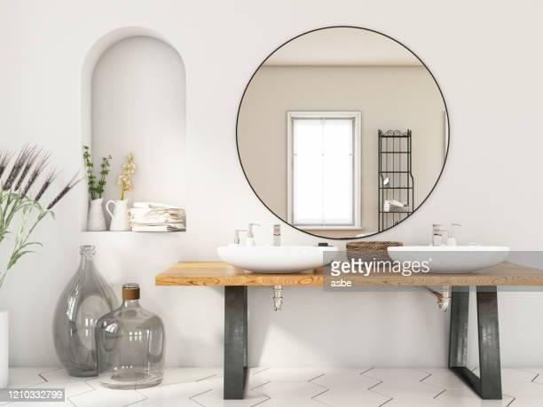 2つのシンクと鏡が備わるモダンなバスルーム - 水周り ストックフォトと画像