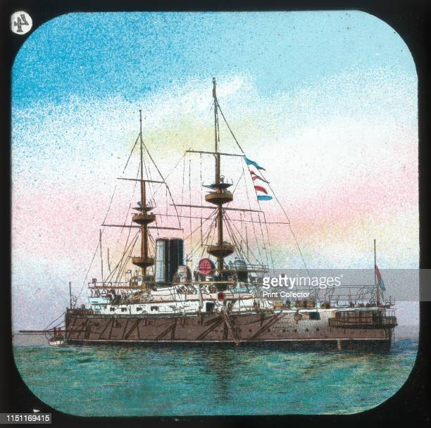 A Modern Battleship HMS Jupiter' circa 1900 From The British Navy Primus Magic Lantern Slides Junior Lecturers Series B [W Butcher Sons] Artist...