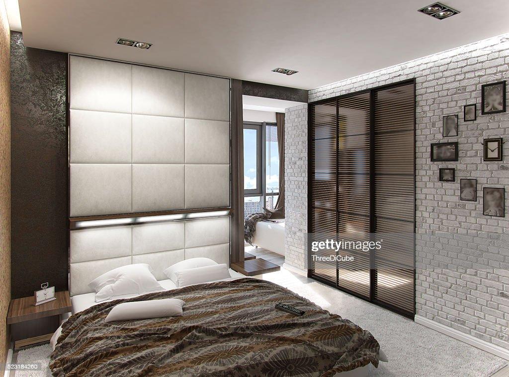 modern bedroom interior 3d rendering stock photo