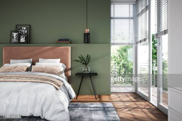 modern bedroom interior - stock photo - bedroom stock pictures, royalty-free photos & images