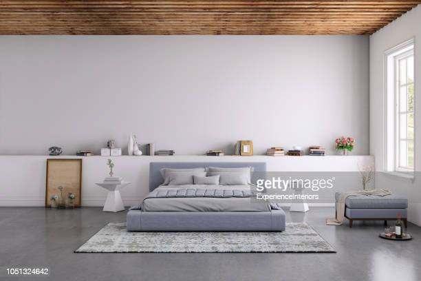 modern bedroom interior with blank wall for copy space - nordic countries stock pictures, royalty-free photos & images