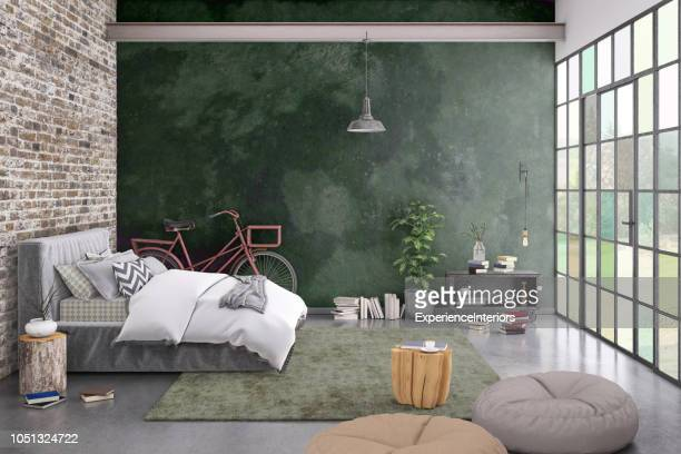 modern bedroom interior with blank wall for copy space - bed furniture stock pictures, royalty-free photos & images